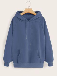 Shop Kangaroo Pocket Raglan Sleeve Drawstring Hoodie at ROMWE, discover more fashion styles online. Stylish Hoodies, Cool Hoodies, Hoodie Outfit, Fashion Mode, Teen Fashion Outfits, Fast Fashion, Jugend Mode Outfits, Hoodie Sweatshirts, Hoody