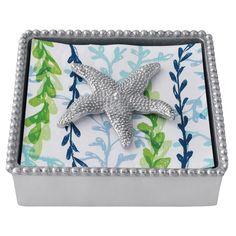 Mariposa Beaded Napkin Box with Starfish Weight