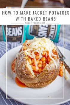 Jacket potatoes with beans is a quirky British food consisting of baked potatoes with butter, baked beans in tomato sauce, and cheddar cheese. Baked Potatoes With Beans, Baked Jacket Potatoes, Jacket Potato And Beans, Jacket Potato Recipe, Vegetarian Recipes, Cooking Recipes, Yummy Recipes, Potato Dinner, British Baking