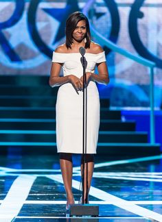 13 Trends To Steal From Michelle Obamas Style This Spring || First Lady of the United States Michelle Obama speaks onstage during 2015 'Black Girls Rock!' BET Special at NJ Performing Arts Center on March 28, 2015 in Newark, New Jersey.