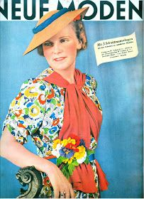 Fashions from 1938 vintage style blouse shirt color floral print brights red yellow blue unique design model magazine 30s Fashion, Funky Fashion, Fashion Prints, Vintage Fashion, Fashion Outfits, Retro Vintage Dresses, Vintage Outfits, Vintage Clothing, Vintage Style