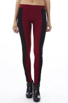 Every girl needs a little burgandy - Revolt's Burgundy Block Leggings #FreeShipping #Deals #Skirt #OnlineShopping