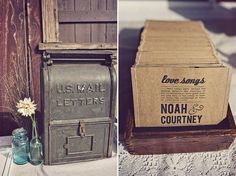 Vintage mailbox for cards and cd favors Cd Wedding Favors, Wedding Cd, Personalized Wedding Favors, Wedding Blog, Wedding Gifts, Wedding Ideas, Wedding Stuff, Party Favors, Wedding Reception