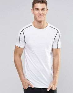 ASOS Longline Muscle T-Shirt With Piping In White £14.00 @ Asos