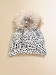 Moncler Girl's Fur Pom-Pom Hat