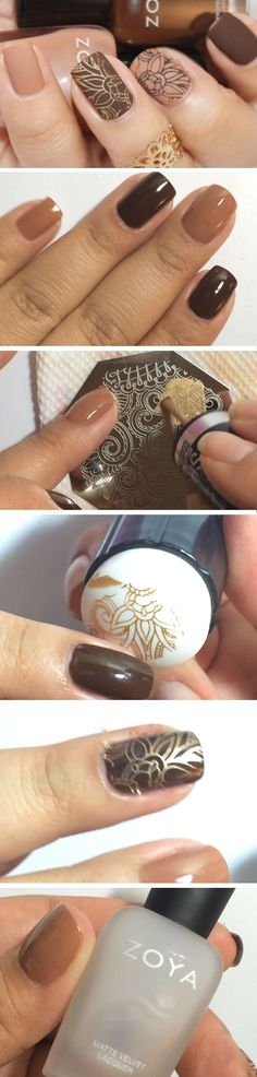 Gold on Brown | Easy DIY Matte Nails Design Ideas for 2017 | Awesome Fall Nails …