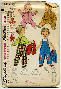 Those girl and boy bunny adorned overalls would be so, so sweetly fantastic for Easter. #vintage #sewing #pattern #1950s #kids #children #clothes #retro