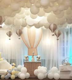 Fall in love with this magical hot air balloon baby shower! The dessert table an. Fall in love with this magical hot air balloon baby shower! The dessert table and party decorations Deco Baby Shower, Girl Shower, Shower Party, Baby Shower Parties, Baby Shower Themes, Shower Ideas, Baby Showers, Baby Shower Favours, Baby Shower Table