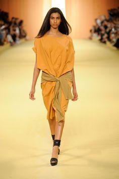 Tangerine cotton and silk seersucker dress. hermes womenswear fashion