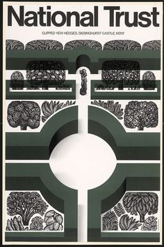 Love this undated David Gentleman poster for the National Trust showing the gardens at Sissinghurst Castle, Kent. Excellent colours and dimensionality and his plant forms are gorgeous. Graphic Design Illustration, Graphic Art, Illustration Art, David Gentleman, Poster Design, National Trust, Typography Design, Vintage Posters, Illustrators