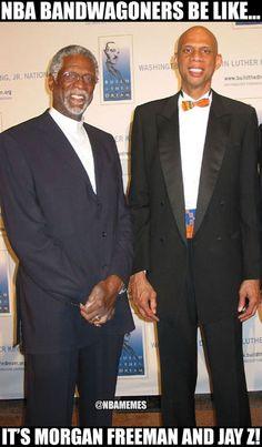 Bill Russell and Kareem or Morgan Freeman and Jay Z? Nba Memes, Sports Memes, Nba Funny, Funny Memes, Slam Magazine, Basketball Motivation, Bill Russell, Kareem Abdul Jabbar, Morgan Freeman