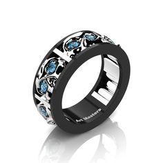 Mens Modern 14K Blac  Mens Modern 14K Black and White Gold Blue Topaz Skull Channel Cluster Wedding Ring R453-14KBWGBT