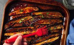 Könnyű, vega egytálétel – szójaszószos grillezett padlizsán sült rizzsel - Dívány Grill Pan, Gnocchi, Eggplant, Pesto, Grilling, Pork, Veggies, Beef, Recipes