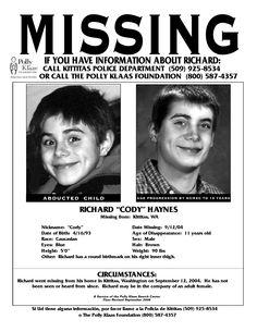 Cody Haynes is missing