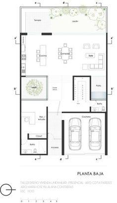Galería de Estos son los mejores proyectos finales del curso en línea Taller de Diseño Arquitectónico 'Vivienda Unifamiliar' - 92 Detail Architecture, Minimalist Architecture, Modern Architecture House, Architecture Plan, Modern House Plans, Small House Plans, House Floor Plans, Small Villa, Casa Patio