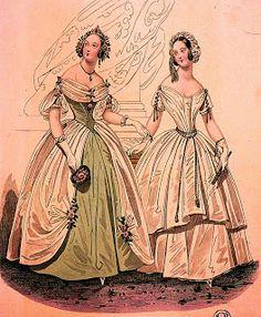 historia del traje: 28. Romanticismo (III): el vestido lánguido 1836-1842 Con berta y sin berta, el segundo de vaga raigambre clásica.  Publicado en La Mariposa, 1840.