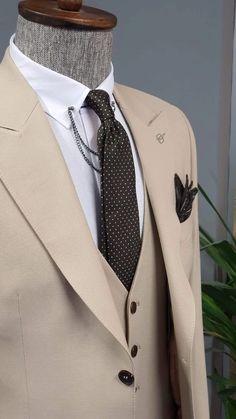 Beige Suits, Black Suits, Formal Suits, Cotton Suit, Summer Suits, Suit Vest, Dapper Men, Tie And Pocket Square, Blazers For Men