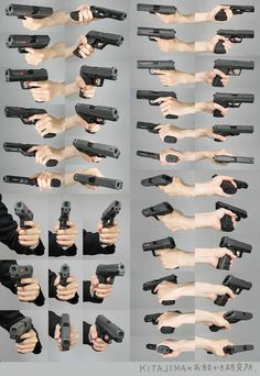 Holding a gun from different perspectives - hand reference - drawing reference Human Reference, Figure Drawing Reference, Anatomy Reference, Photo Reference, Anatomy Study, Schrift Tattoos, Hand Pose, Anatomy Poses, Poses References