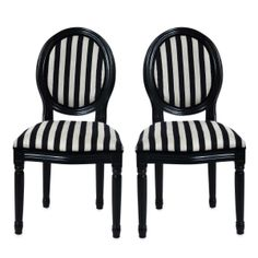 MEDAILLON black and beige Baroque dining room chair (set of - Miliboo Dining Room Chairs, Table And Chairs, Chaise Baroque, Create Your Own Furniture, Black And White Furniture, Striped Chair, Contemporary Furniture, Decoration, Beige