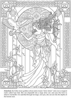 coloring pages of pagans | ARIANRHOD - Celtic Moon Goddess - can shape shift into silver Owl