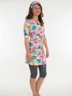 Slanted Style Painted Flowers Modest Swim Suit/Modest by Leelach, $165.00