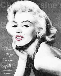 Marilyn Monroe (6):  A Watercolor Fine Art Print with No Regrets Quote, Portrait for Marilyn Monroe Lovers, Classic Hollywood Home Decor