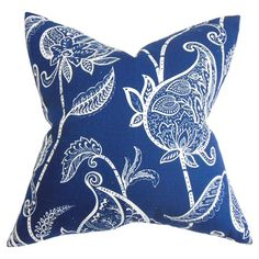 Cotton pillow with a floral paisley motif and down fill. Made in Boston, Massachusetts.   Product: PillowConstructio...