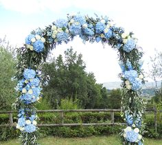 wedding Blue arch - Olive branches and blue hydrangeas wedding arch Wedding Ceremony Ideas, Wedding Arch Rustic, Wedding Arches, Reception, Blue Wedding Decorations, Wedding Centerpieces, Wedding Bouquets, Tall Centerpiece, Arco Floral