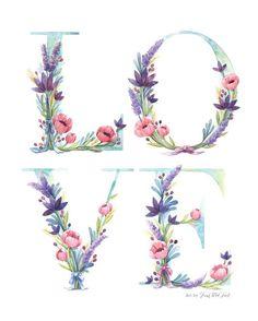 Aquarell Blumen Liebe Kunstdruck Aquarell