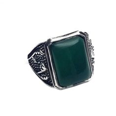 TURKISH STYLE 925 STERLING SILVER  BIG CAB GREEN ONY GEMSTONE OXIDIZED MENS RING #SilvexStore #Military