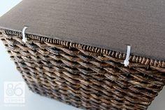 DIY Basket Lid Tutorial (using fabric, foam board and zip ties for hinges) 86lemons.com