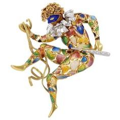 Diamond Enameled Two Color Gold Court Jester Pin