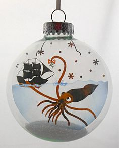 Mr. Squid Christmas Holiday Ornament by GlakLove on Etsy