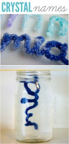 Such a cool science experiment for kids. Make crystal names in a jar. Gorgeous!!