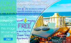 LIKE the idea of 4 Nights FREE #accommodation in a 2 bedroom Ocean view #apartment on the #GoldCoast? Be sure to get your name in the drawer for this one! Click here for details; https://www.facebook.com/AegeanApartments/app_141149985924076