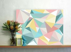 Wallabuy home - Love my home.Facet Love Turquoise Canvas STORE: WALLSTUDIO $89.00