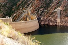 Landscape shot of the dam walls at the Kouga Dam Landscape shot of the dam walls at the Kouga Dam, South Africa.