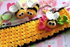 fascia per capelli in cotone ,con ape . portachiavi ape
