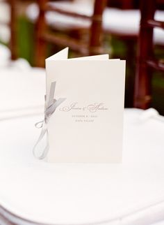 Simple Ceremony Program With Gray Ribbon