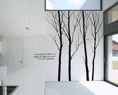 Baum Wandtattoo Aufkleber 4 Bäume Wald Wand Aufkleber Winter Baum & Natur Wand Aufkleber weiß Baum Baby Kinderzimmer Wand Wandaufkleber    Diese