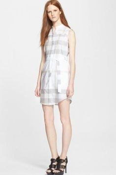 Burberry Brit 'Margaux' Check Print Sleeveless Cotton Voile Shirtdress $ 346.49