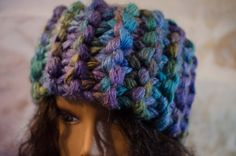 Chunky Head Band/ Ear Muff Purple Green and Turquoise - Gift for Her - Snow Gear - Stocking Stuffer - Super Warm Adult Size by Kakodah on Etsy