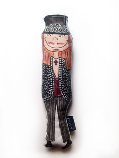 "John Galliano Doll. Original watercolor painting illustration artwork by KahriAnne Kerr of John Galliano printed on Linen/Cotton Canvas with solid black linen back and filled with poly fiber fill to create a cute little fashion doll. 10.5"" H."