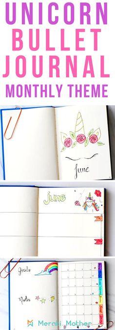 Unicorn bullet journal monthly theme for bujo #doodlejournal #journalart #nulletjournal #monthly