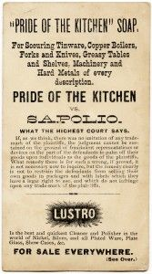 free printable digital image design resource ~ Thurber's Pride of the Kitchen Soap Victorian advertising card ~ back