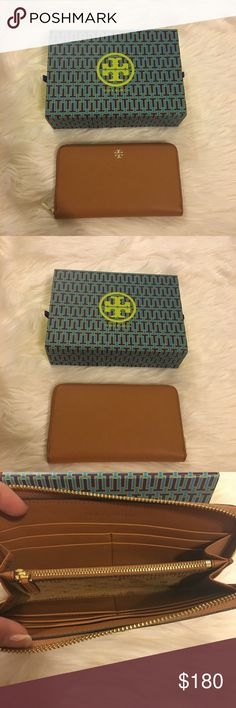 """Tory Burch Robinson Continental Wallet Brand new never used Tory Burch Robinson Zip Continental wallet / zipper closure. Bark color.  2 interior compartments, 1 zipper pocket, 8 credit card slots, 2 bill pockets Length: 7.65""""  Height: 4.06""""  ‼️ if you would like the box, it will be $5 extra, please lmk if you want BEFORE purchasing :) ‼️  RETAILS: $225 No trades. No lowballing. 100% authentic items Tory Burch Bags Wallets"""