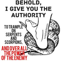 Luke 10:19 Behold I have given you authority to tread on serpents and scorpions…