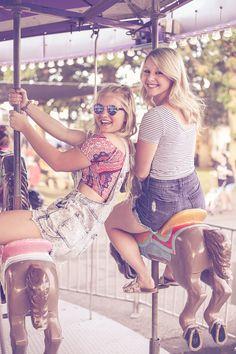 #fair #fun #fairoutfits #countyfaot #sisters #bestfriends #seniorpics #blondes #cottoncamdy #overalls #summer #rides