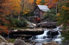 Autumn waterfall at the West Va. gristmill