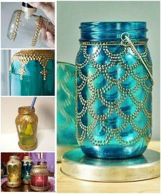 Non-English tute, but easy to understand from pictures! Glass Bottle Crafts, Diy Bottle, Bottle Art, Bottle Painting, Dot Painting, Mason Jar Lanterns, Mason Jars, Bottles And Jars, Glass Bottles